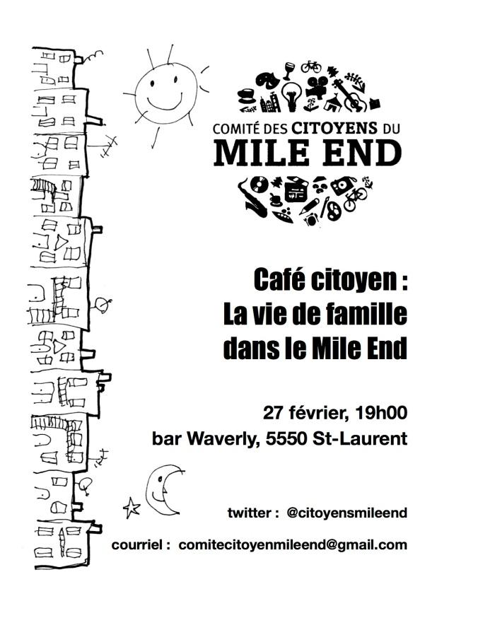 La vie de famille dans le Mile End. Un café-citoyen, 27 février à 19h au bar Waverly