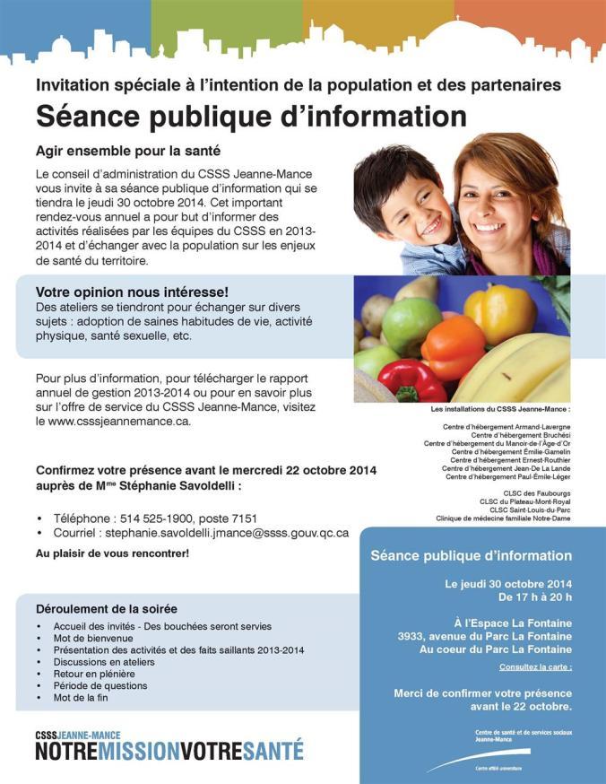 Séance publique d'information du CSSS Jeanne-Mance