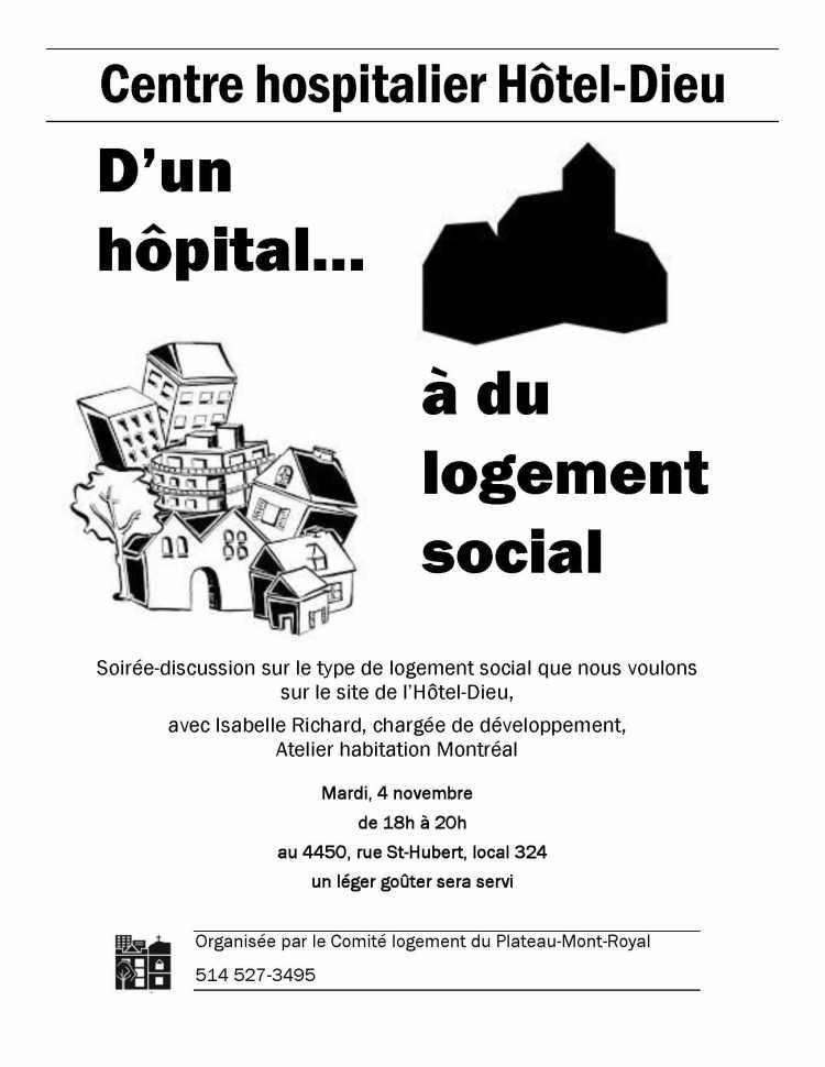 Soirée-discussion sur le logement social sur le site de l'Hôtel-Dieu