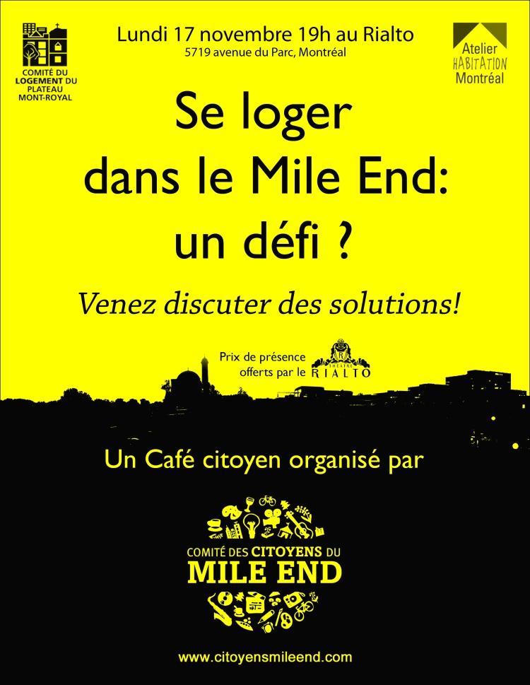 Affiche du Café citoyen sur le Logement